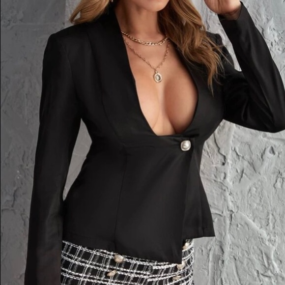 Black Shein Solid single button blazer